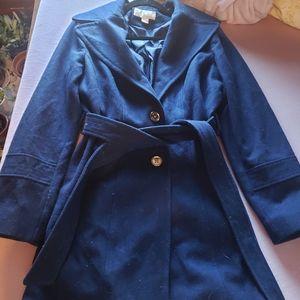 Navy Blue Wool Michael Kors Trench Coat